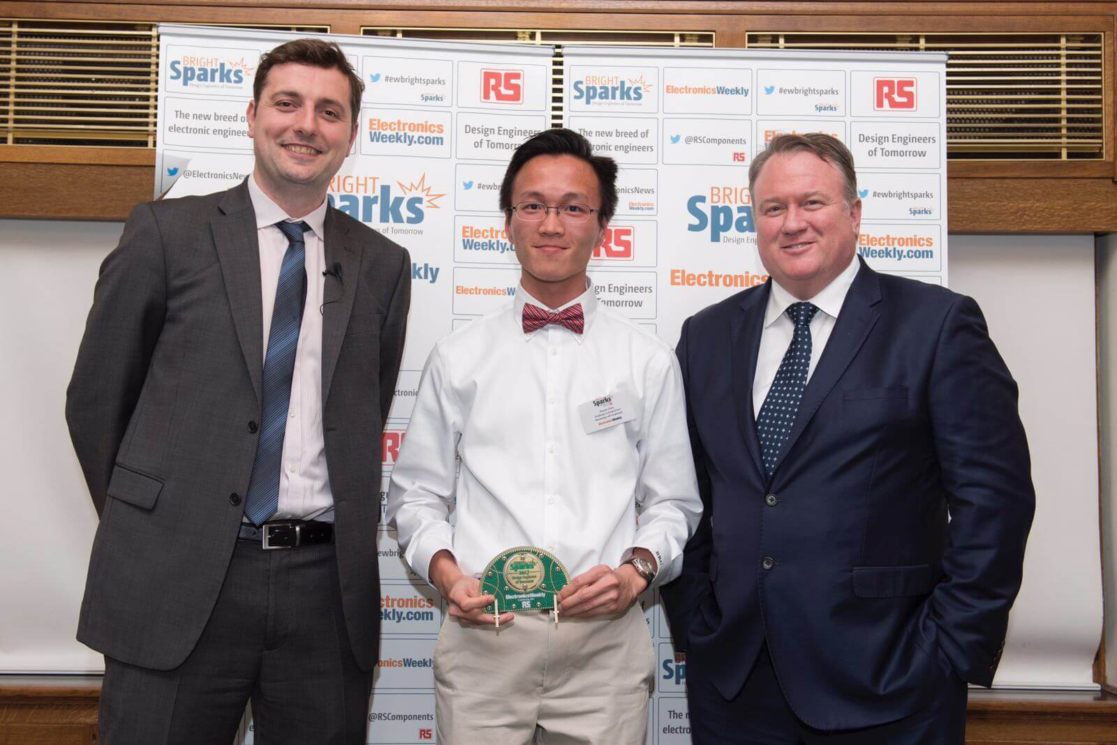 Sponsored MSc Student, Shuran Chen, receiving the RS Bright Sparks Award 2017 from RS Components CEO Lindsley Ruth (right). May 2017