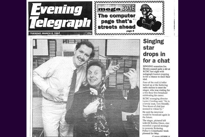 The Kettering Evening Telegraph reports Joe Brown's visit to KCBC (1993)
