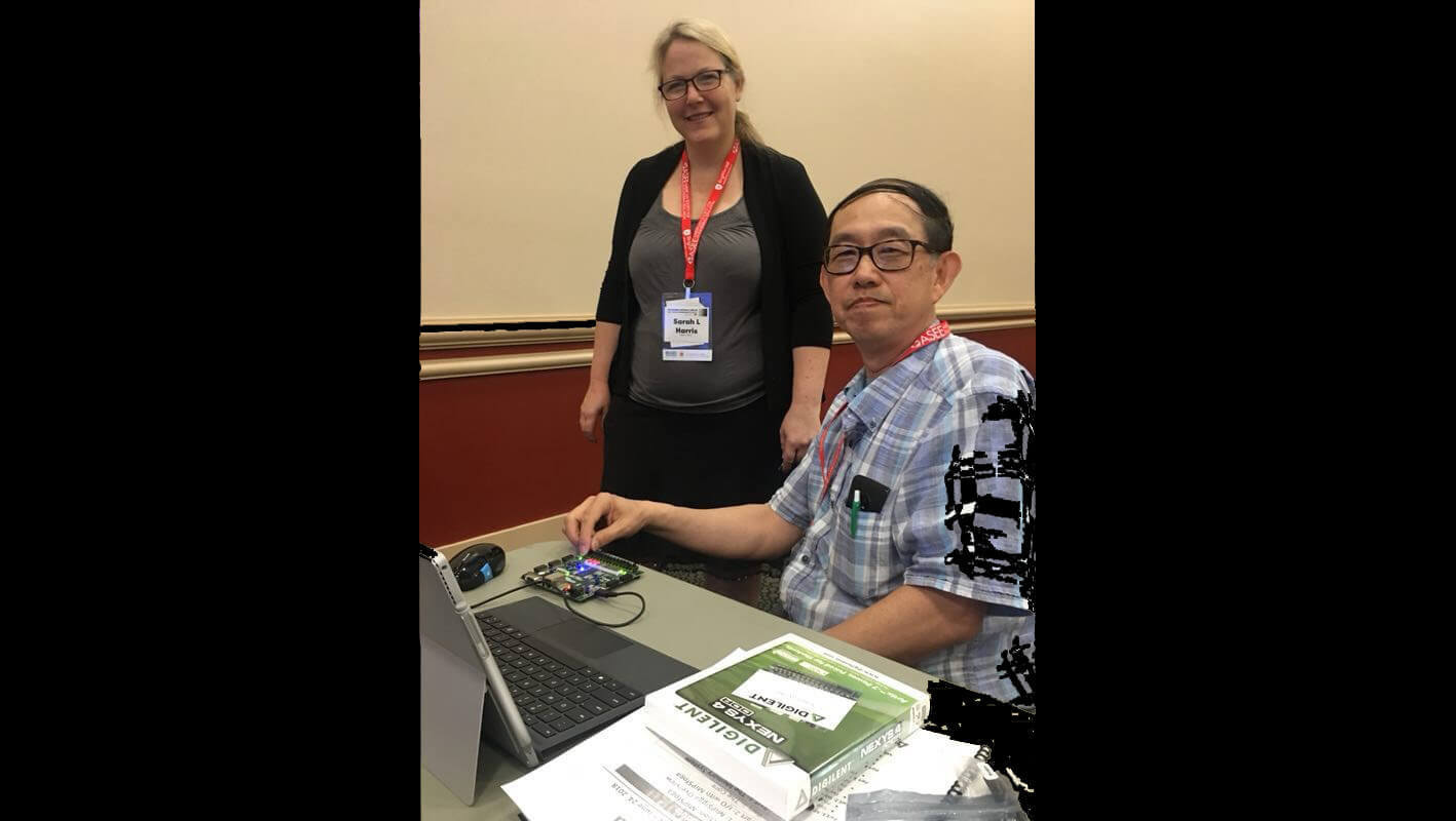 Dr Sarah Harris and Prof Chu at a MIPSfpga Workshop during ASEE Annual Conference 2018, Salt Lake City, USA