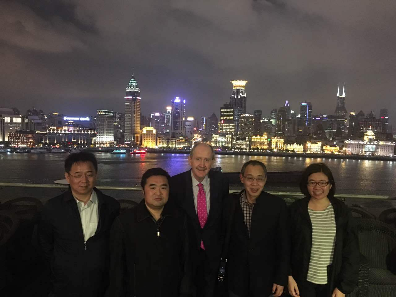 Prof Shi of ZJU (Zhejiang) with colleagues, Robert Owen, and Junying Chen. Shanghai, April 2016