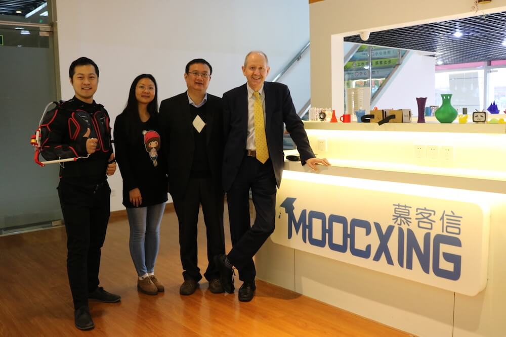 Kevin Xie, Founder of MOOCxing with Henry and his team at the IC Café, Shanghai. Nov. 2016