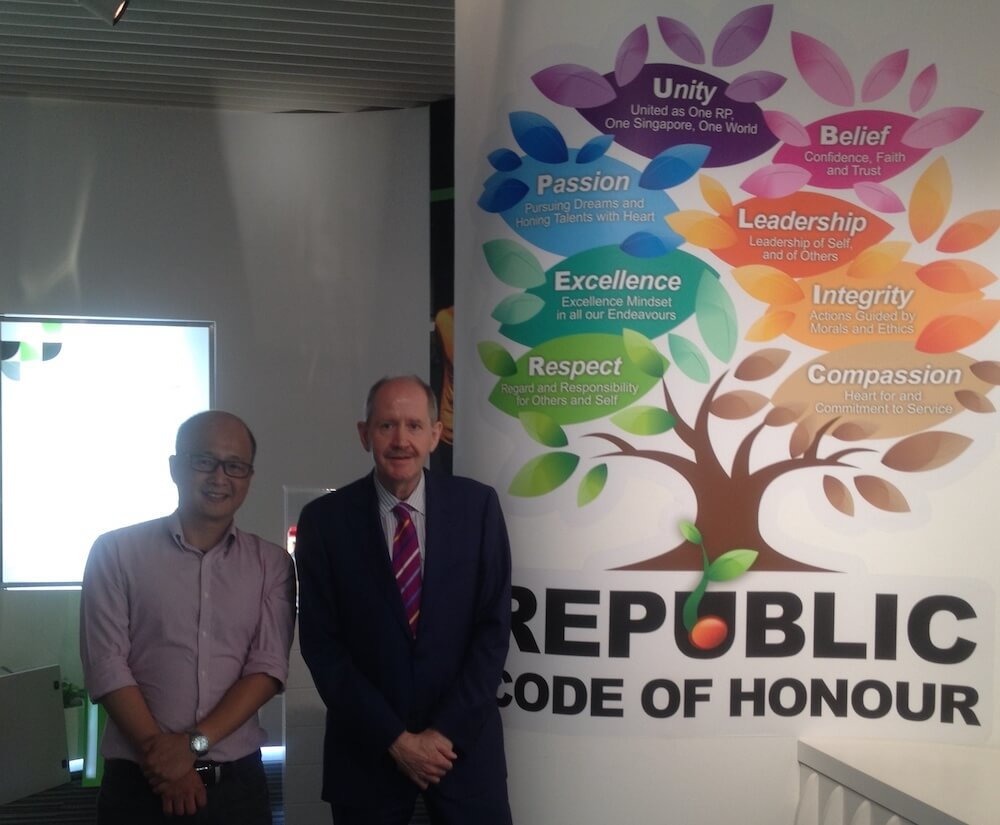 Nick Tan of RS with Robert Owen at Republic Poly, Singapore, November 2015