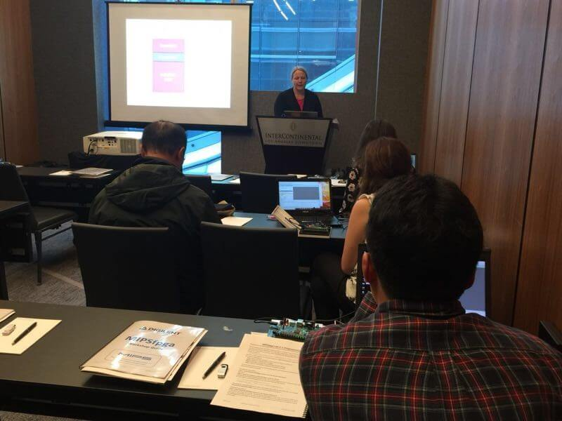 Sarah Harris presenting a workshop at ISCA 2018 - Los Angeles, USA